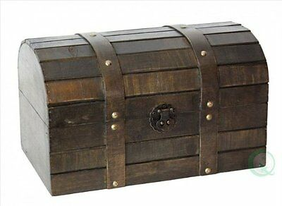 Vintiquewise Old Style Barn Trunk, Wood, Antique Brown
