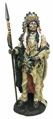 "14"" Height Native American Indian Warrior Holding Spear Standing Figurine Statue"