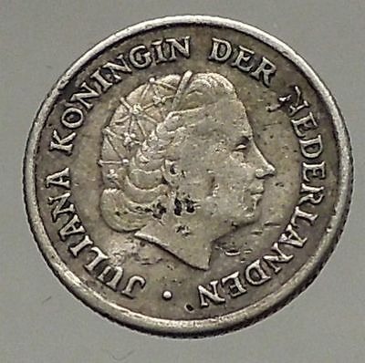 1954 Netherlands QUEEN Juliana SILVER 1/10 Gulden Coin of ANTILLES  i57191
