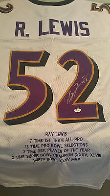 Baltimore Ravens, Ray Lewis signed custom pro style stats jersey (W) w/JSA
