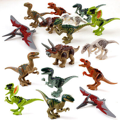 8 Sets MiniFigures Jurassic World Fits Lego Toys Tyrannosaurus Rex Triceratops