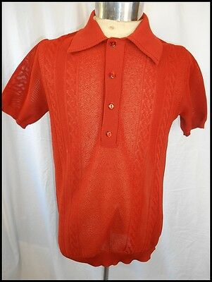 Vintage 70s Target Rusty Brown Burnt Orange Polyester Mod Style Polo Shirt S