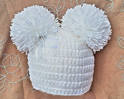 CROCHET WHITE POM POM HAT 6-9-12 6-12 MONTHs BABY GIRL pompom 2 knit photo prop