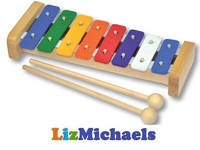Fun Factory Kids 8 Tone Metal Xylophone Musical Instrument Wooden Holder
