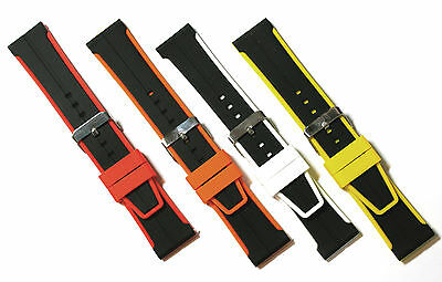 24mm Watch Strap.  Black with Coloured Edge in Silicone Rubber.