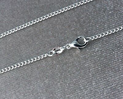 Genuine Solid 925 Sterling Silver Fine Curb Chain Necklace All Inch Available Uk
