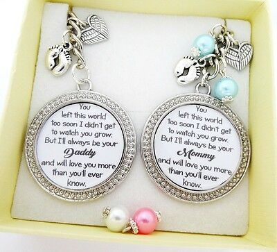 S.Keyring (A)*SET* You left too soon..Daddy & Mummy of an Angel,Baby loss, SIDS