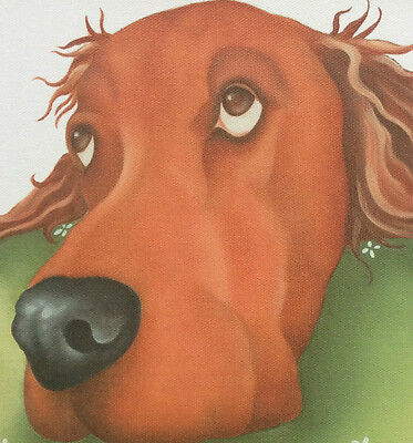irish red setter painting ready to hang CANVAS fine art print by Lizzie Hall