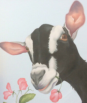 alpine dairy goat painting ready to hang canvas fine art print picture