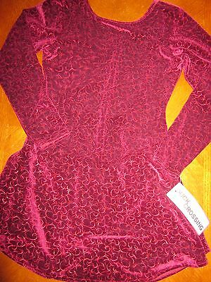 Nwt Avenues Child / Women Maroon Crush Velvet Figure Ice Skating L/s Dress
