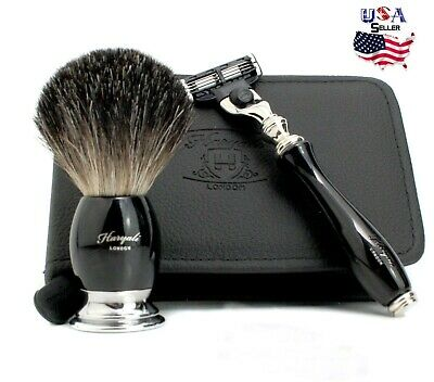 Luxury Travel Shaving Set Badger Hair Brush With Razor Free Leather Case