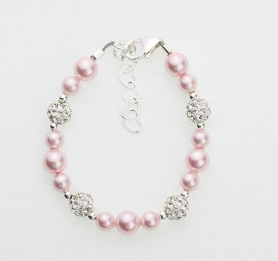Pink Pearls with White Sparkly Pave Beads Bracelet