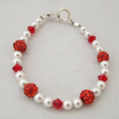 Swarovski White Pearls and Red Crystals with Red Pave Beads Bracelet