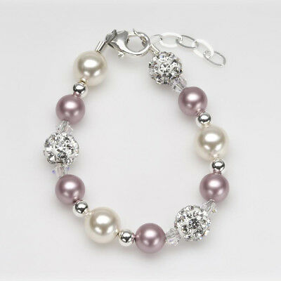 Rose and Ivory Pearls with White Pavé Beads Bracelet