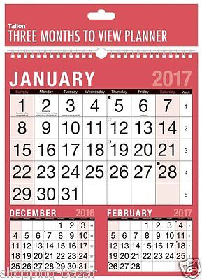 2017 Wall Calendar Three Month to View Quality Planner Spiral Red Black Hanging