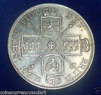 1888 UK (Great Britain)  SILVER COIN  Double Florin