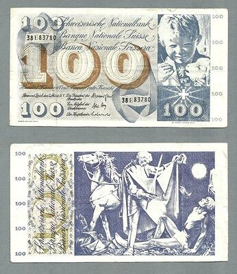 SWITZERLAND P-49o 100 FRANCS 1973 SIGNATURE 43 CIRCULATED S/N 38E83780