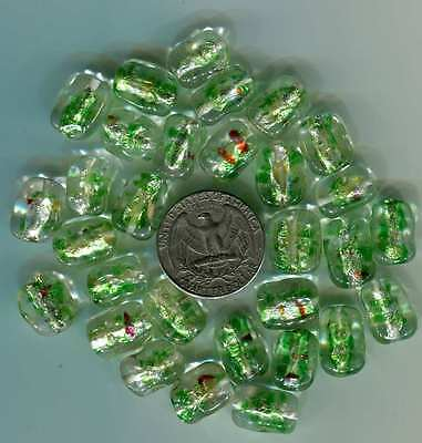 Vintage Japanese glass beads 30 clear green silver foil glass beads
