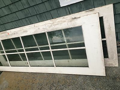 "Antique Interior French Doors Solid Wood Pair Windows Glass Panes 108"" x 36"""