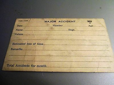 Armco Major Accident Card Form A1309 early 1900's