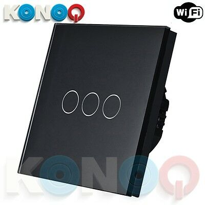 KONOQ Luxury Glass Panel Touch LED Light Switch : WIFI ON/OFF, Black, 3Gang/1Way