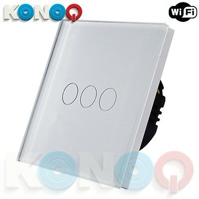 KONOQ Luxury Glass Panel Touch LED Light Switch : WIFI ON/OFF, White, 3Gang/1Way