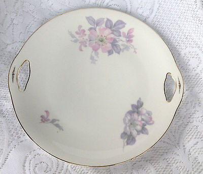 Royal Bayreuth Pink/Purple Floral with gold Two Handled Cut Out Cake Plate (102)