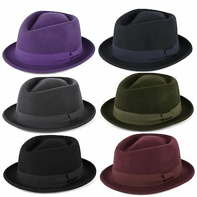 "Cappello ""Pork Pie"" 100% Lana con Banda in Grosgrain, Fatto a Mano in Italia"