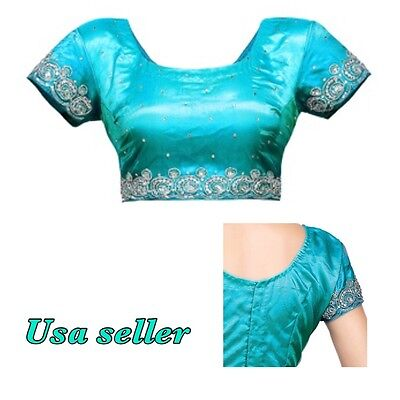 Ready made Embroidered Shimmer Net saree Blouse Dark Aqua with back hook size 38