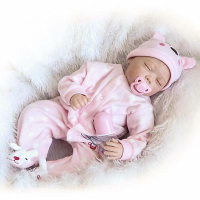 """22"""" Reborn Baby Girl Doll Soft Vinyl Real Live Closed Eyes Rooted Hair"""