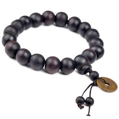 Stylish Men Wood Buddha Buddhist Prayer Beads Tibet Mala Wrist Bracelet Ornament