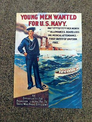 Young Men Wanted U.S. Navy Recruiting Poster Vintage Military