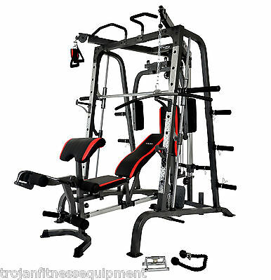 Smith Machine & Bench + Accesories + 120 Kg Olympic Rubber Coated Plates
