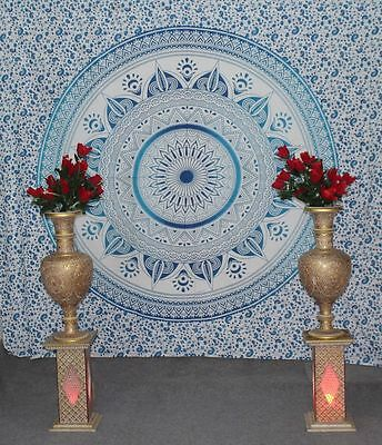 blue ombre flower tapestry indian mandala wall hanging queen cotton blanket