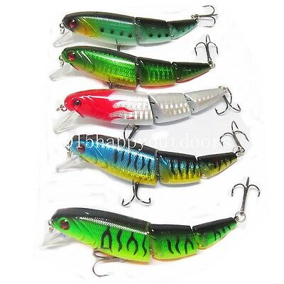 5pcs Jointed Swimbait Fishing Lure Crankbait Bait Hook Bass Pike Fishing Tackle