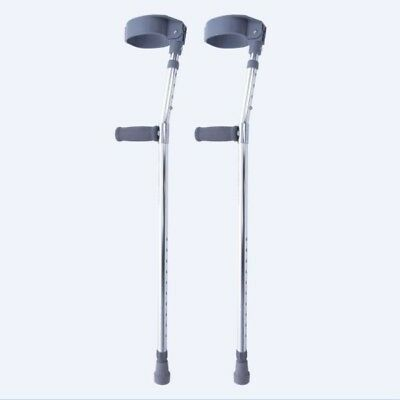 Pair of Elbow Crutches Double Adjustable Lightweight Aluminium Disability