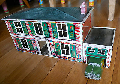 VINTAGE METTOY TINPLATE HOUSE GARAGE & CAR VERY RARE TOY 1950's TIN MT3312