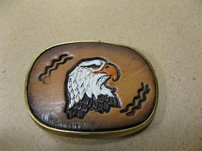 Vintage Tooled Leather Eagle and Brass Belt Buckle Baron Buckles 1983