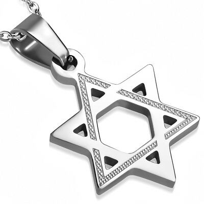 Stainless Steel Silver-Tone Classic Jewish Star of David Pendant Necklace