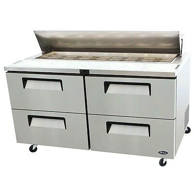 """Atosa - 60"""" Sandwich Prep Table w/ Drawers and  w/ Pans - Refrigerator - MSF8313"""