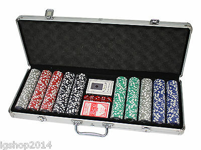 Set 500 Fiches Kit Poker Delux Chips Valigetta Carte Gioco Texas Holdem