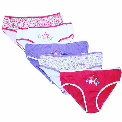 Girls Just Essentials 5 Pack Star Print Cotton Briefs Pants Back to School