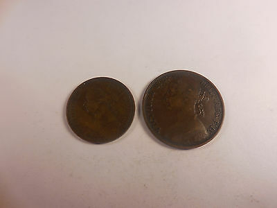 1891 Great Britain Half Penny + Penny - Two Coins - Nice - # 100514