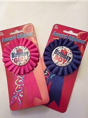 Happy Birthday Boys Badge/Girls Badge Rosette Blue pink Deluxe Award Ribbon
