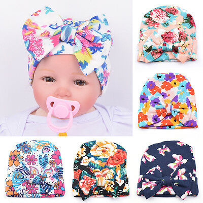 New Newborn Baby Infant Girl Toddler Comfy Bowknot Hospital Cap Beanie Hat DW