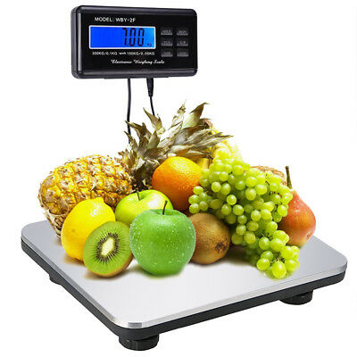 660LBS LCD Platform AC Digital Scale Postal Shipping Floor Bench 300KG Weigh