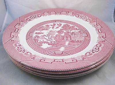 Rare Wood & Sons Pink Willow/Red Willow Dinner Plates (4) 10-3/4""