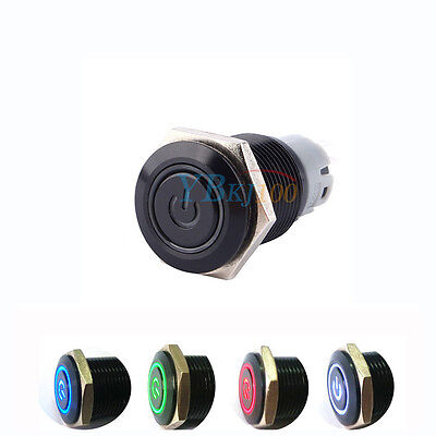 Universal 16mm Car Push Button Switch Blue/White/Red/Green LED Latching ON-OFF