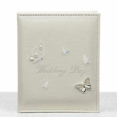 """Ivory Wedding Butterfly Photo Album 20cm High 12 Pages Takes 5"""" x 7"""" 13cm x 18cm"""