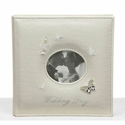 "Ivory Wedding Butterfly Photo Album Large 22cm High 40 Pages Takes 5"" x 7"""